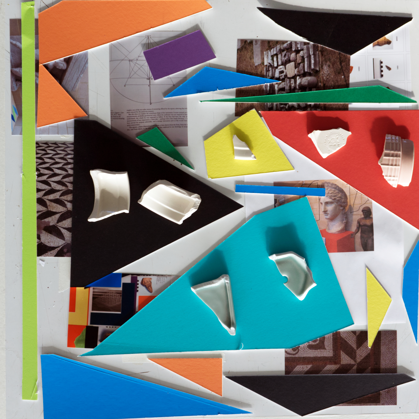 Colourful mountboard in geometric sherds, interspersed with photographs and pottery sherds