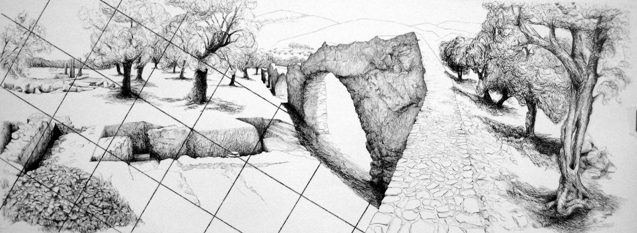 a drawing of a Greek landscape with olive trees, overlaid with a grid