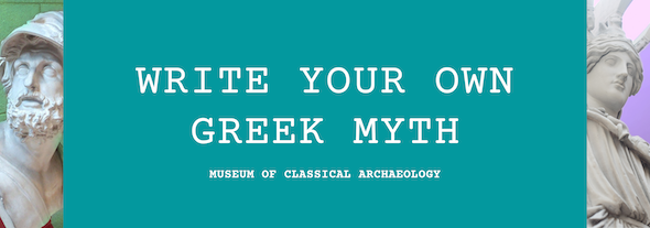 Write your own greek myth on green background