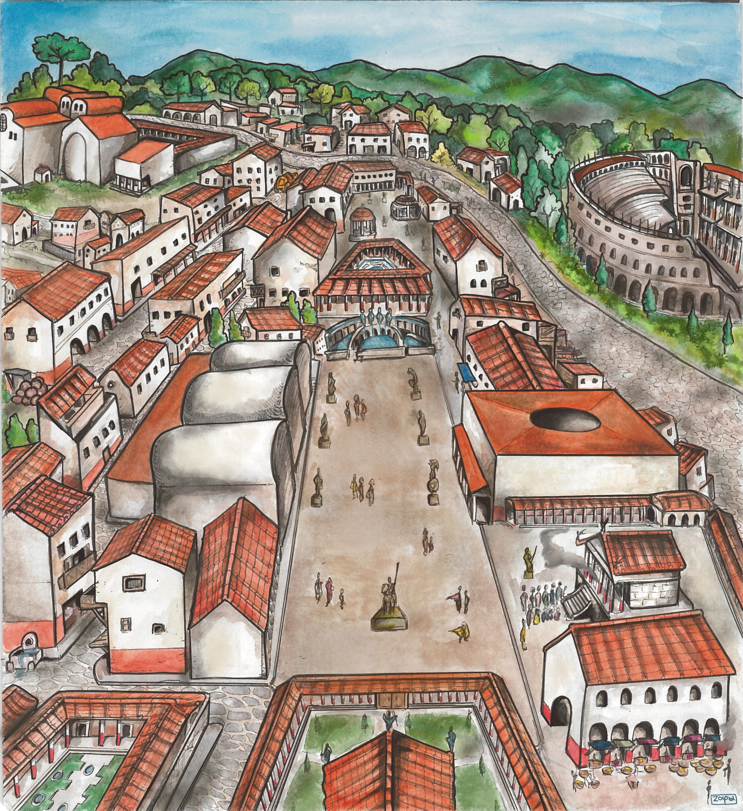 colour drawing of a Roman cityscape from above, with roofs, greenery and roads