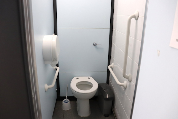 ambulatory toilet fitted with handrails