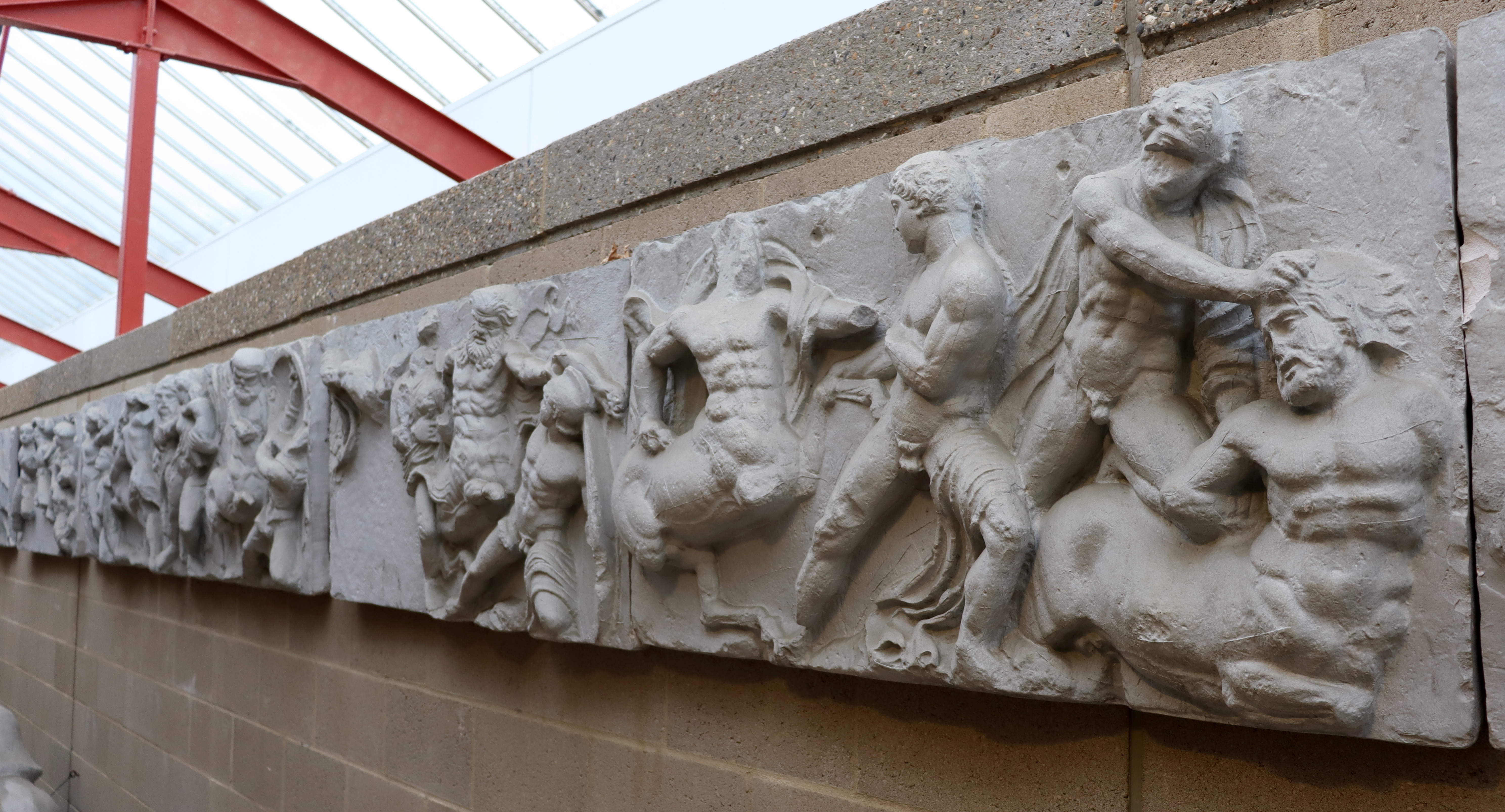 view of Bassai frieze with fighting centaurs
