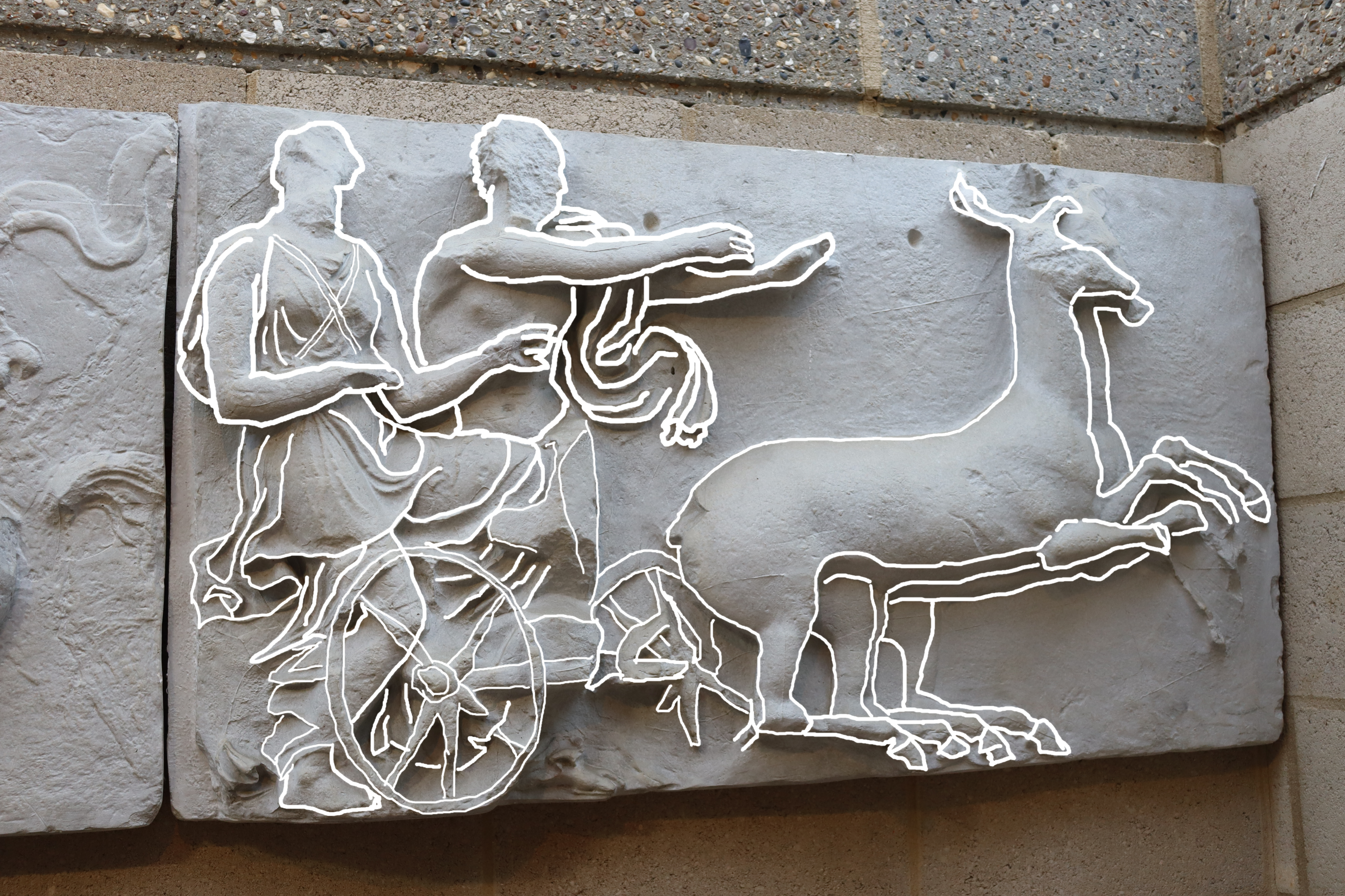 Bassae Chariot with white lines drawn on.