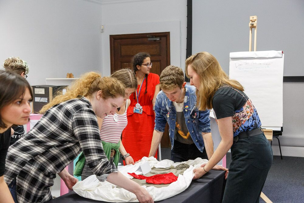 the museum remix team move their Hermaphroditus model into place