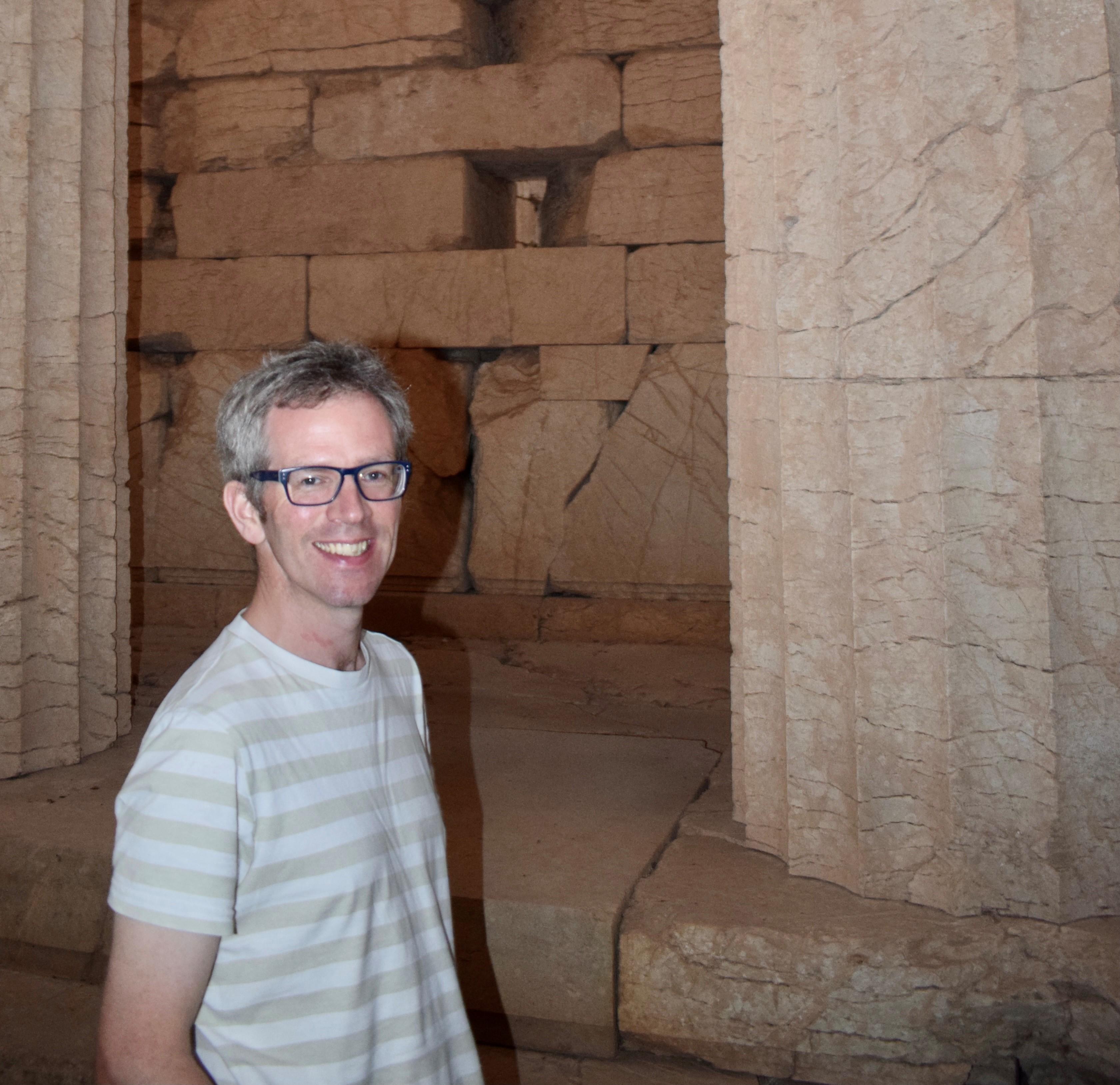 Professor Tim Whitmarsh at the Temple of Apollo at Bassae, Greece