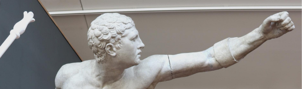 Statue with hand outstretched