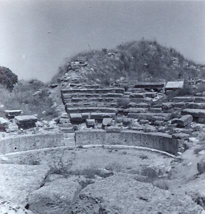 black and white photo of an ancient ampitheatre