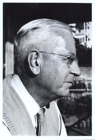 black and white photo of George Bean in profile
