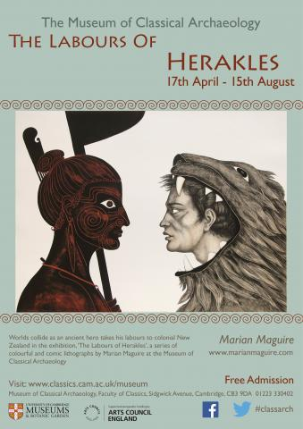 exhibition poster, Hercules in lionskin facing Maori man with spear