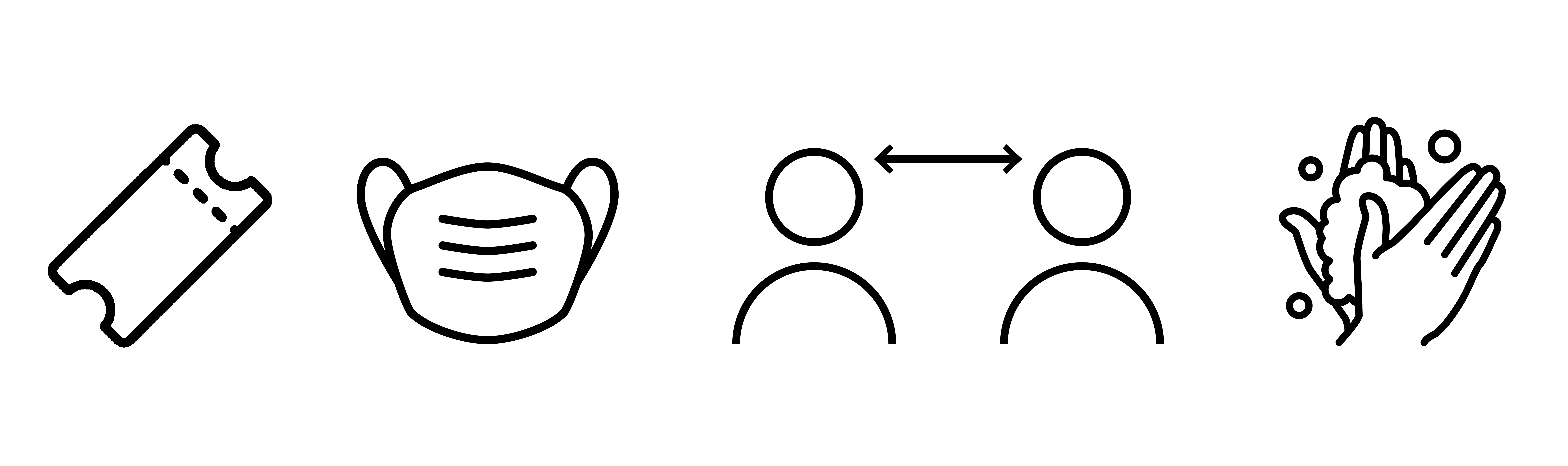safety icons for booking tickets, wearing a mask, social distancing and washing hands