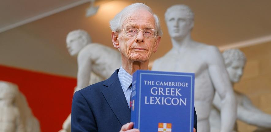 Professor James Digle with The Cambridge Greek Lexicon ©Sir Cam