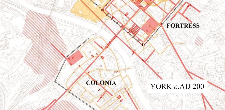 Plan of current knowledge of Roman York ©John Creighton and Martin Millett