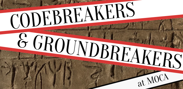 Codebreakers and Groundbreakers: text on background of linear B tablet inscribed with pictograms