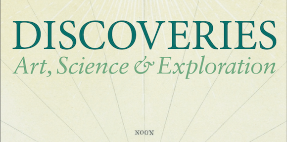 Discoveries: Art, Science and Exploration. Green text on lighter green background.