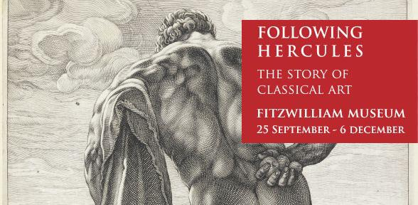Following Hercules: Black and white engraving of naked Farnese Hercules from behind
