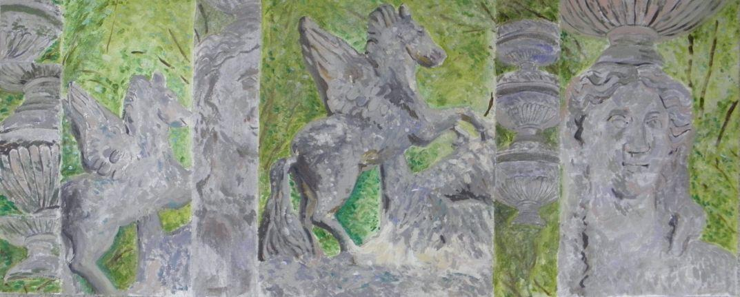 Paintings of stone urns, winged horses and female heads on green leafy background