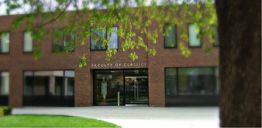 View of the Classics Faculty building, with tree in foreground