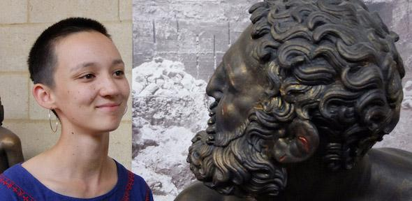 Katharine Russell looks into the eyes of the bronzed Terme Boxer statue