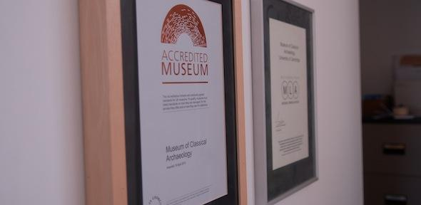 Accreditation certificates on the wall