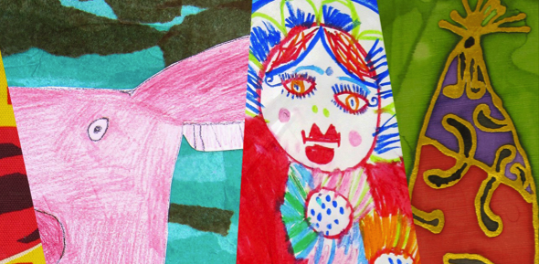 brightly coloured collage of drawings