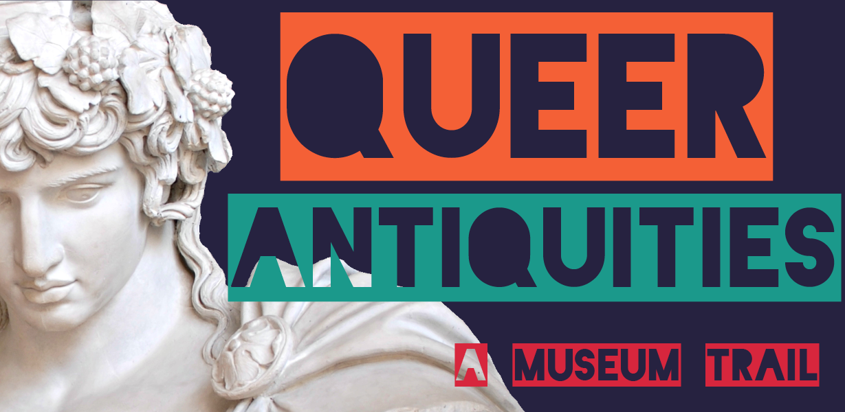Queer Antiquities, bright text with statue of antinous