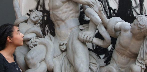Sade Ojelade looks at the statue of the Laocoon and his sons