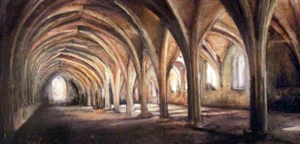 Sensing Space: interior of Fountains Abbey, drawn with pastels