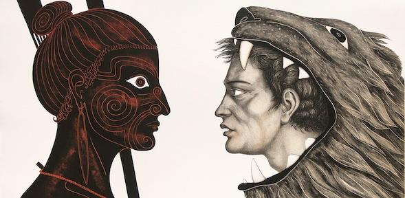 The Labours of Herakles: Herakles in a lionskin faces a Maori with face tattoos