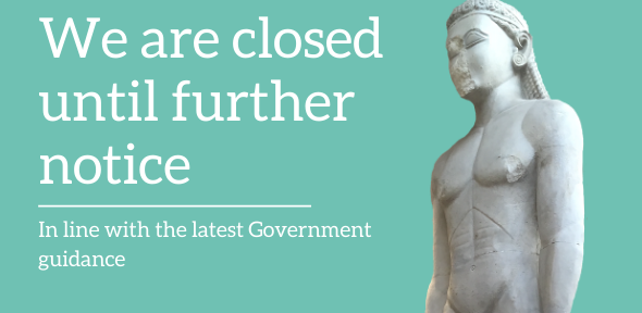 The Sounion Kouros, statue of a naked youth, stands on turquoise background, 'We are closed'